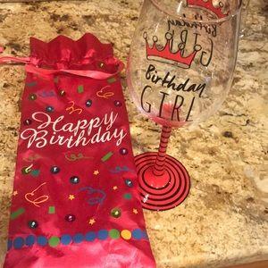 Birthday girl wine glass with satiny gift bag